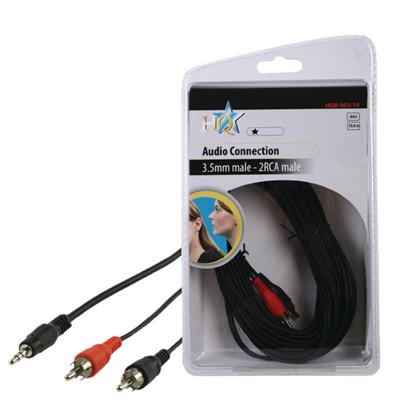 Stereo Audio Cable 3.5 mm Male - 2x RCA Male 10 meter